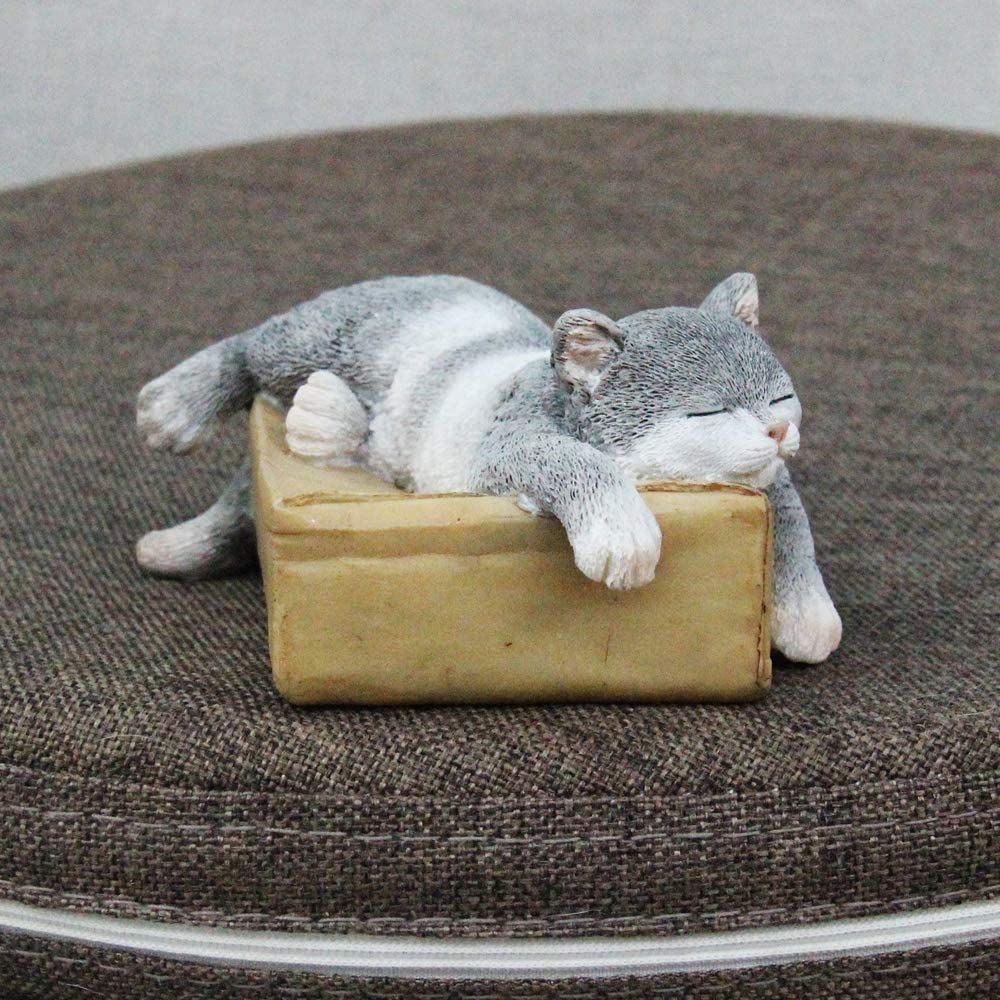 Tfro /& Cile Miniature Cat Figurine Resin Outdoor Sleeping Animal Statue for Fairy Garden Accessories