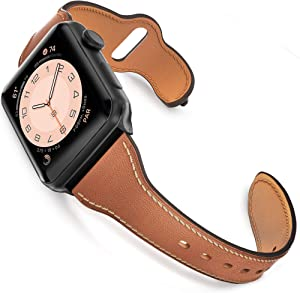 GZ GZHISY Leather Band Compatible for Apple Watch 38mm 40mm, Slim Thin Genuine Leather Narrow Watch Strap Replacement for Women Compatible for iWatch Series 6/SE/5/4/3/2/1, S/M Brown