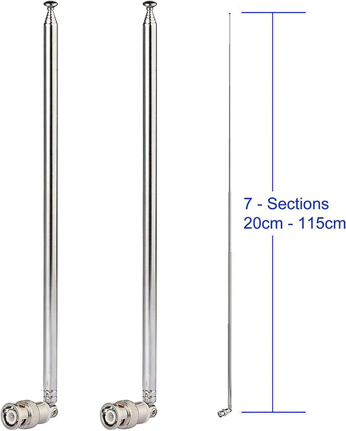 Bingfu HF VHF UHF 7-Sections 115cm Telescopic BNC Male Antenna 2-Pack for Ham Radio Amateur Radio Mobile Radio Transceiver Two Way Radio Police Scanner Wireless Microphone Receiver Frequency Counter