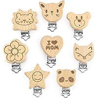 Artestar 8 stuks fopspeen clips kit met schattige houten knijpers, dierlijk hart, babybretels clips doe-het-zelf, om je…