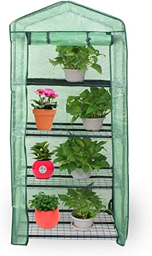 HomGarden 4-Tier Mini Greenhouse Portable Plant Flower Shelf Tent w PE Cover Roll-Up Zipper Door for Lawn Patio Garden Indoor Outdoors