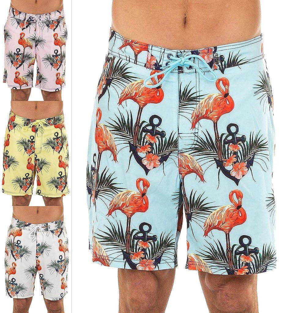 UZZI Men's Flamingos Stretch E-Board Hybrid Swim Shorts