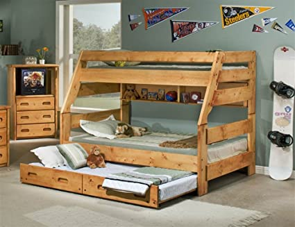 Amazon Com Twin Over Full Bunk Bed In Cinnamon Kitchen Dining