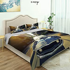 Homenon Bedding Sheet Modern Bed Sets Vintage Classic Car in Urban Street Old Fashion Auto in Town Nostalgia for Teen 3 Pieces (1 Quilt Cover, 2 Pillowcases) (Queen)