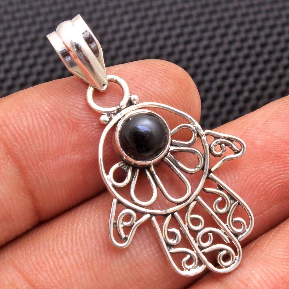 New Gifts For Women/'s 925 Solid Sterling Silver Jewellery Girls Jewellery FSJ-1070 Gorgeous Agate Gemstone Pendant Black Onyx Handmade