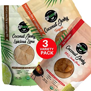 product image for Wrawp Coconut Jerky | 100% Plant Based Vegan and Raw Coconut Meat Jerky | Gluten Free, Paleo, Vegetarian, and Vegan Jerky Strips (Variety Pack, 3 Pack)