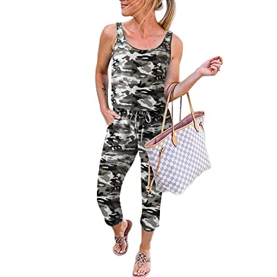 ANRABESS Women Summer Casual Sleeveless Leopard Print Jumpsuits Rompers Beam Foot Elastic Waist Short Jumpsuits with Pockets: Clothing