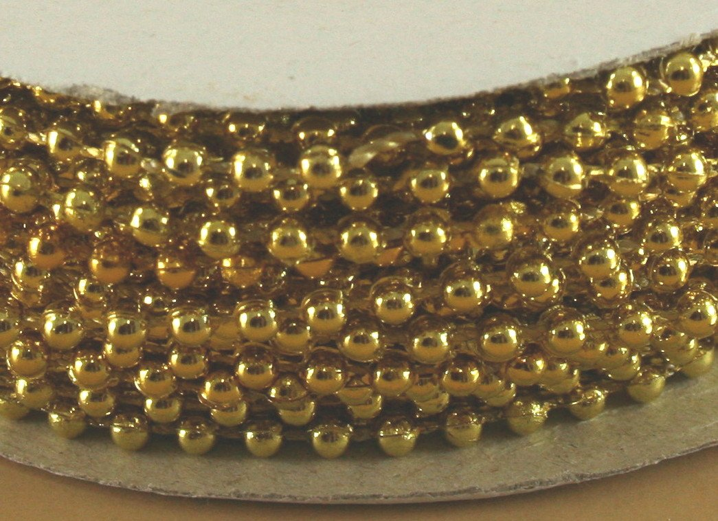 3mm Faux Pearl Plastic Beads on a String Craft Roll Metallic Gold by DPC   B009NZX57I