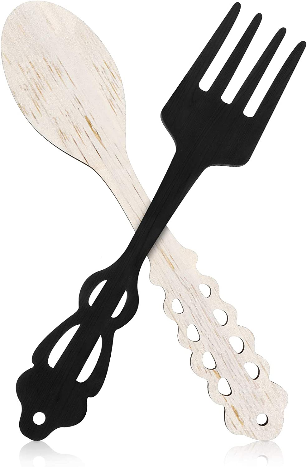 Jetec 2 Pieces Large Fork and Spoon Wall Decor Wooden Spoon Shaped Wall Sign Fork Shaped Hanging Sign Farmhouse Kitchen Wall Decors for Home Kitchen Dining Living Room Decor (White, Black)