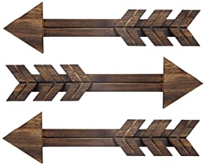 "Dahey Rustic Wood Arrow Sign Wall Decor, 15"" X 4"" Farmhouse Wall Mount Barnwood Decoration for Home or Wedding, Set of 3"