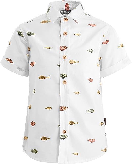 GULLIVER - Camisa de manga corta para niño, diseño con texto en alemán, color blanco, 2-7 años, 98-128 cm Blanco 110 cm: Amazon.es: Ropa y accesorios
