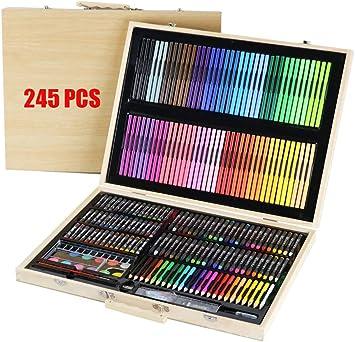 Kangsur 245-Pcs Profesional LáPices De Colores Conjunto De Dibujo ArtíStico Madera Caja Incluir Pintura LáPiz De Color Lapices Acuarelables: Amazon.es: Deportes y aire libre