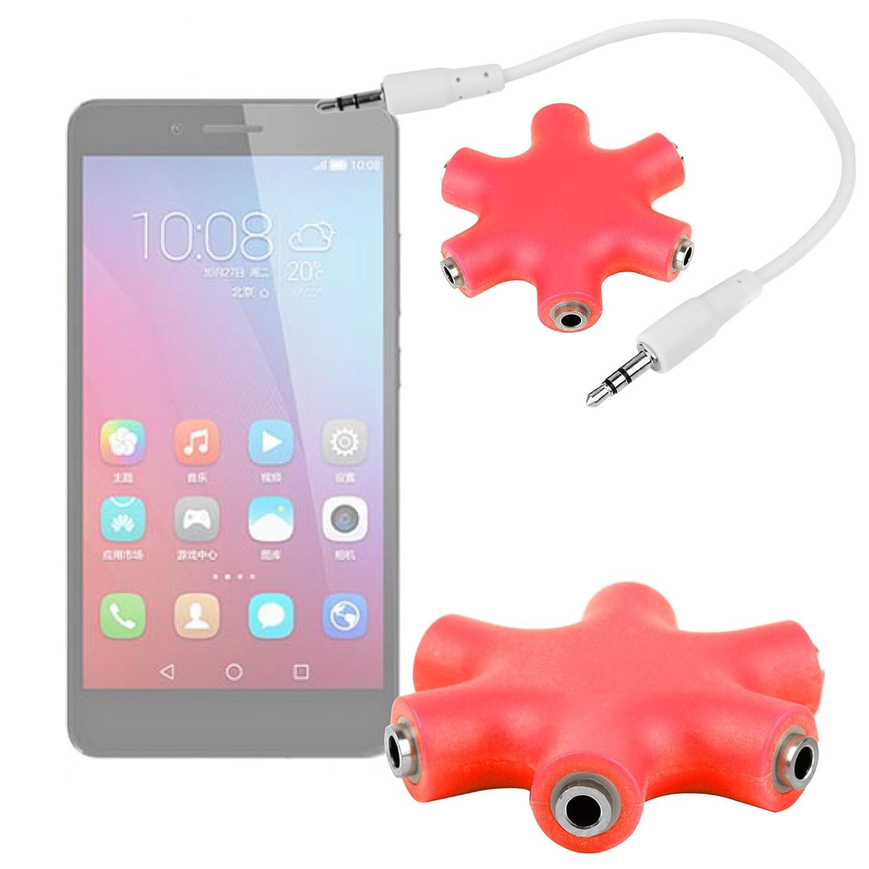 DURAGADGET Divisor De Auriculares Rojo para Smartphone Huawei ...