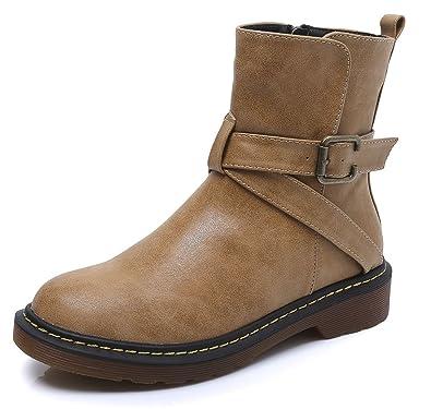 c26edf90f06d7 wealsex Bottes Courtes Cuir Plate Fermeture éclair Brides Talon Bloc Bottes  Cheville Classiques Doublure Chaude Boots