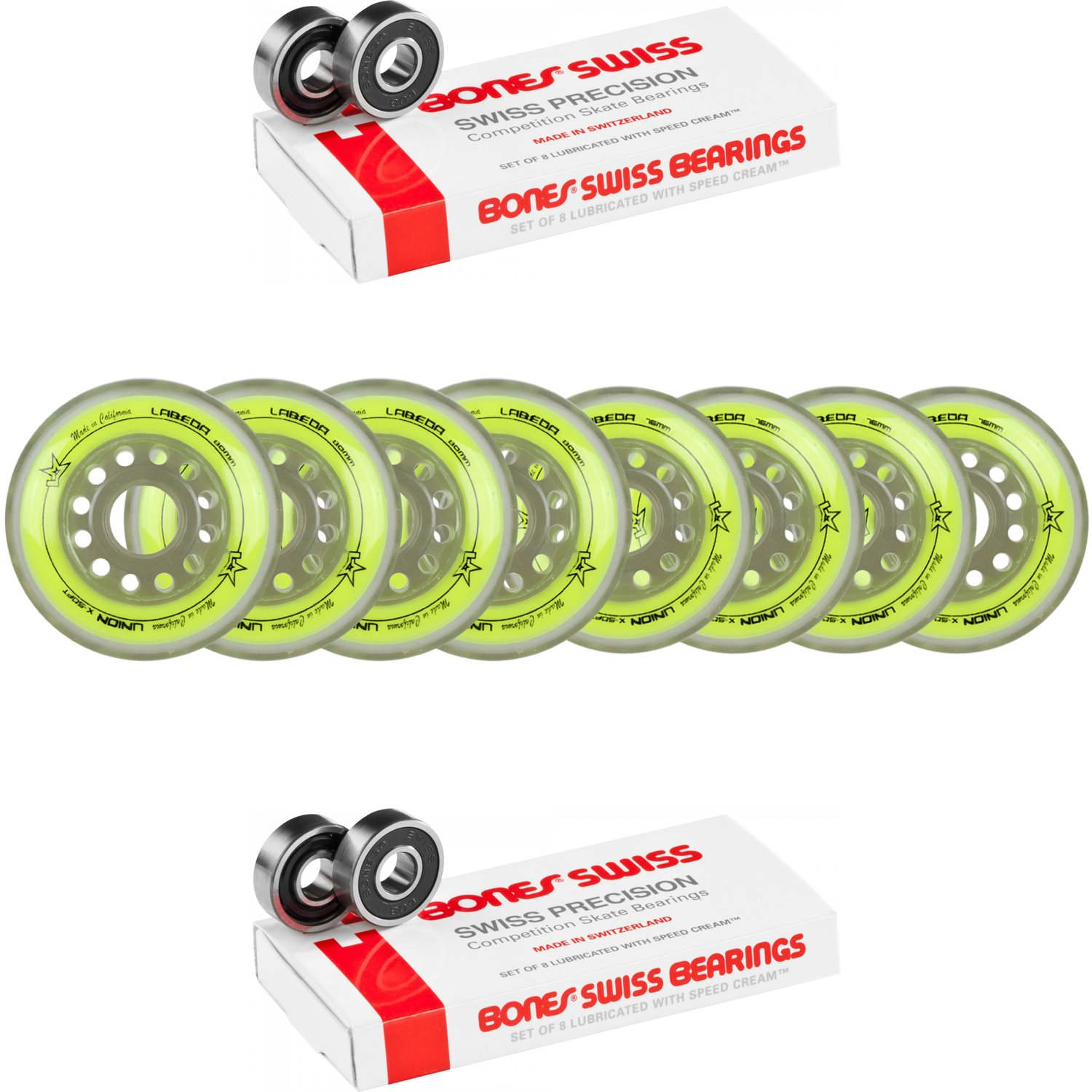 Labeda Wheels 80mm /76mm Hilo Set Union Yellow Inline Indoor Roller Hockey Bones Swiss
