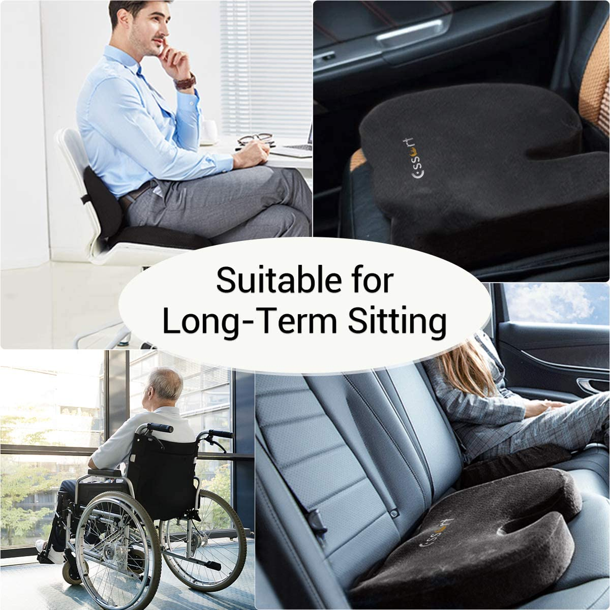 Essort Seat Cushion Back Seat Cushion Lumbar Support Pillow Memory Foam Washable Cover Comfort Seat Cushion Pad for Office Computer Chair Car Wheelchair