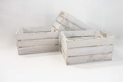 Set 3 Cajas de Almacenamiento con Asas Sam, Madera, Blanco Vintage ...