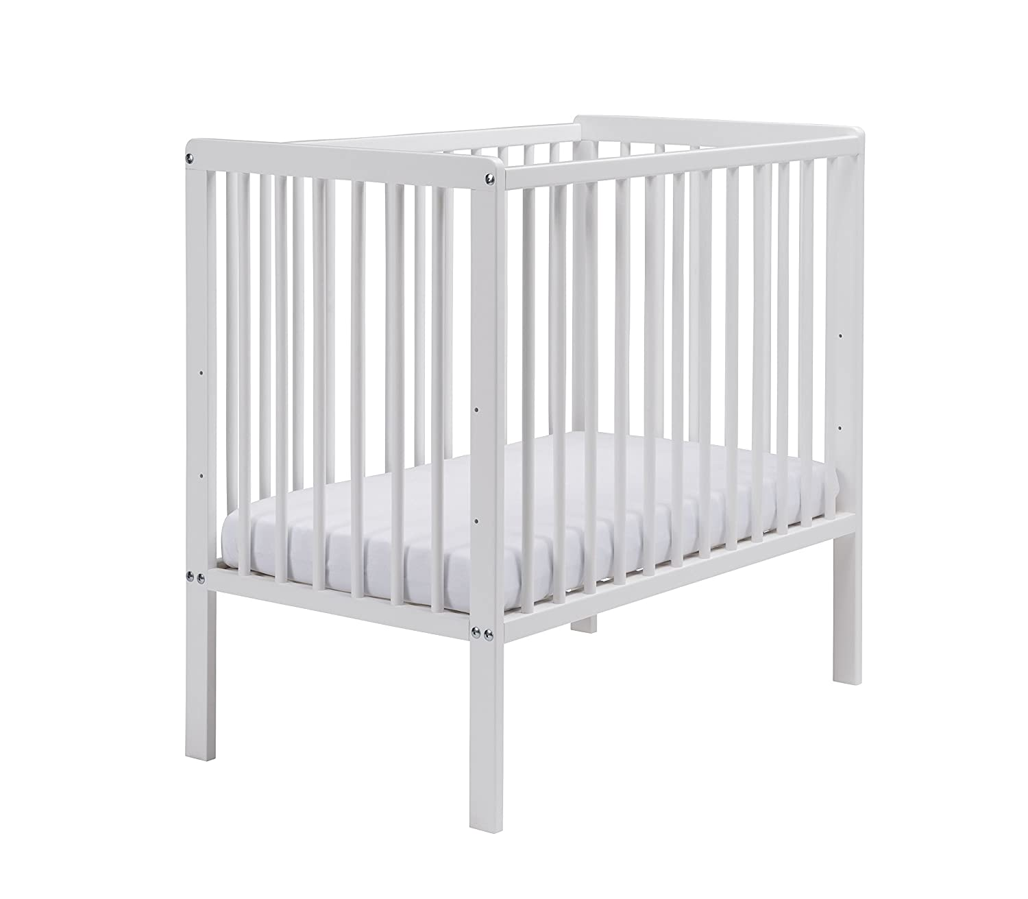 East Coast Nursery Carolina Space Saving Cot with Mattress (White) 7841W