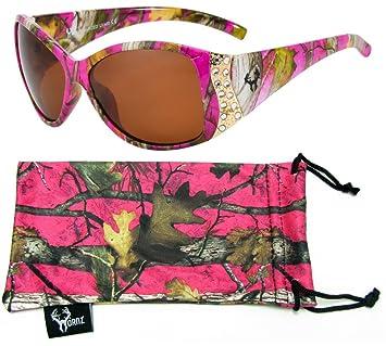 Hornz Pink Camouflage polarisierten Sonnenbrillen für Damen Strass Akzente & freie passende Beutel aus Mikrofaser LqrhkoD