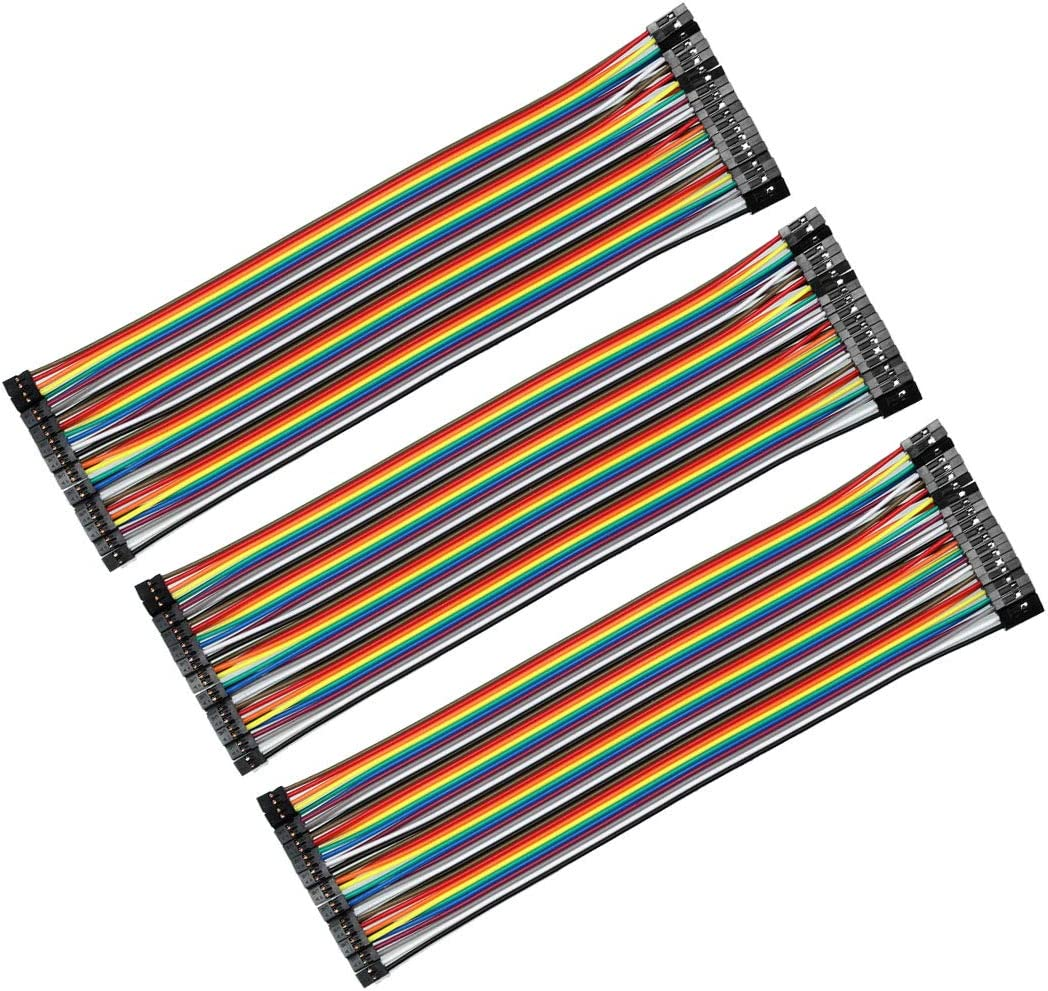 uxcell Female to Female 40P Jumper Wire 2 to 2.54mm Pitch Ribbon Cable Breadboard DIY 20cm Long 3pcs