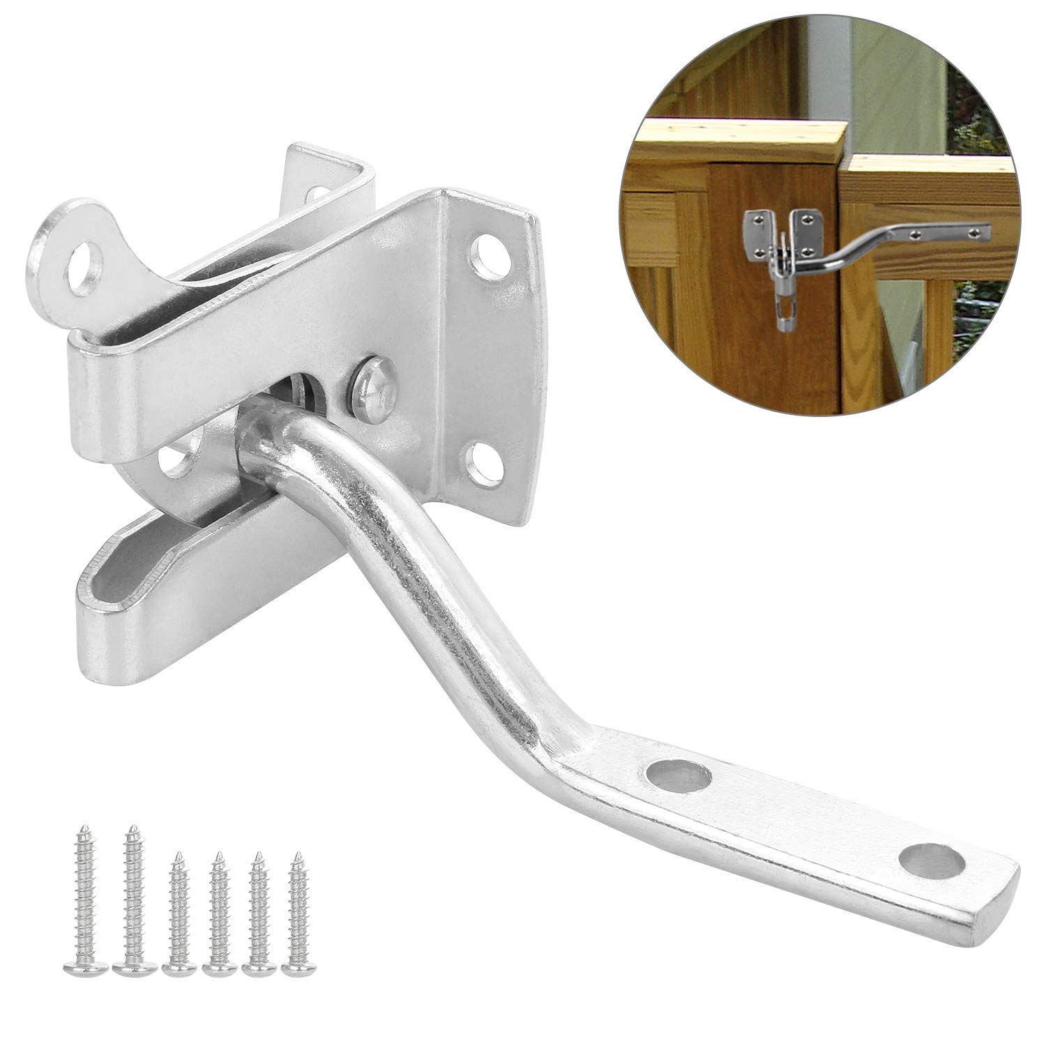Acrux7 Gate Latch, Automatic Self Locking, Vinyl Fence Gate Latch for Out-Swing Gates, Doors, Stainless Steel 1-Pack