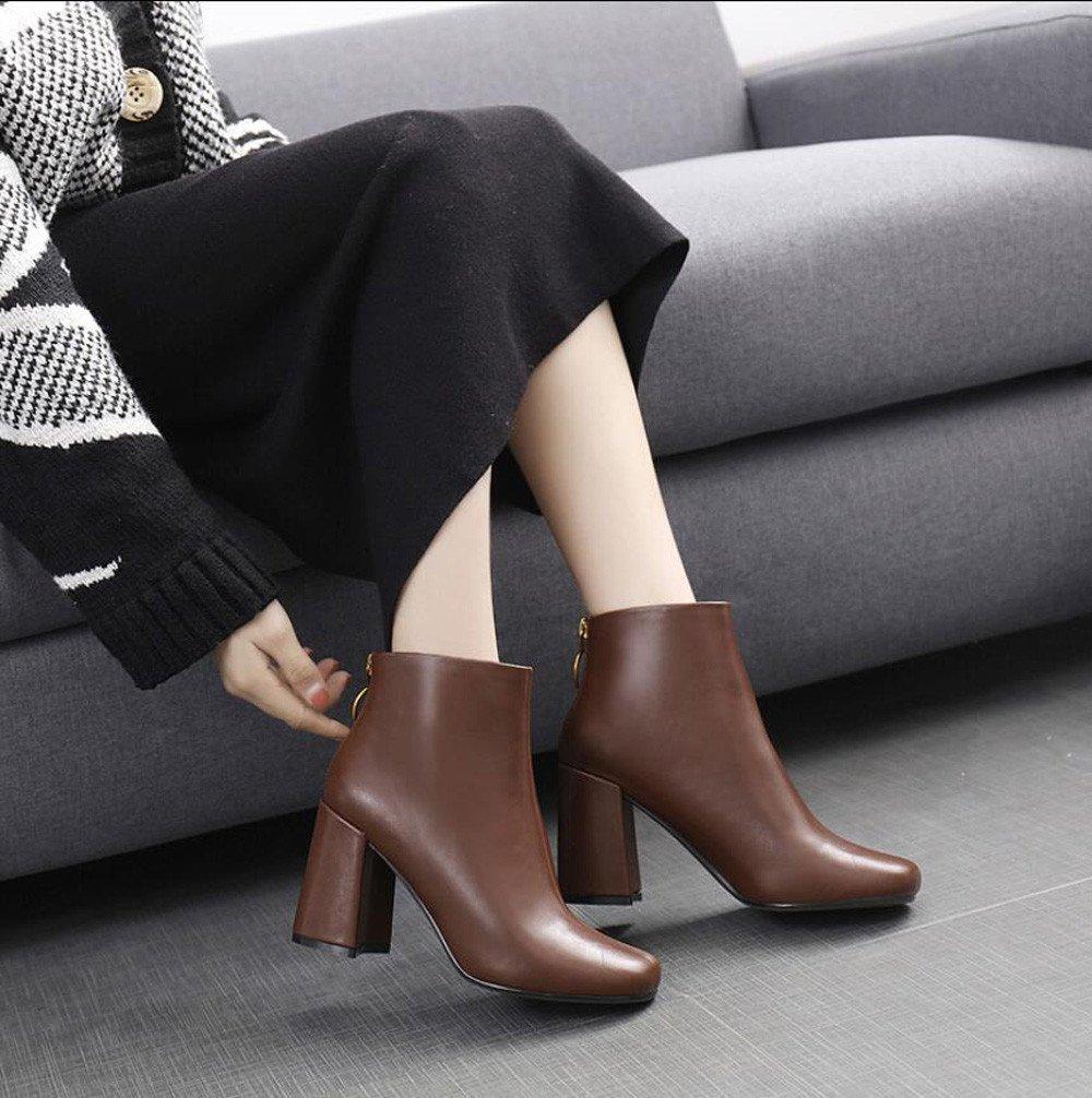 KHSKX-El Nuevo Jefe Del Partido Invierno Zapatos Decorativos Metálicos Círculo Zipper Gruesas Con Botas De Tacón Alto De Color Marrón Botas Botas 8.5Cm Desnudo Femenino 37