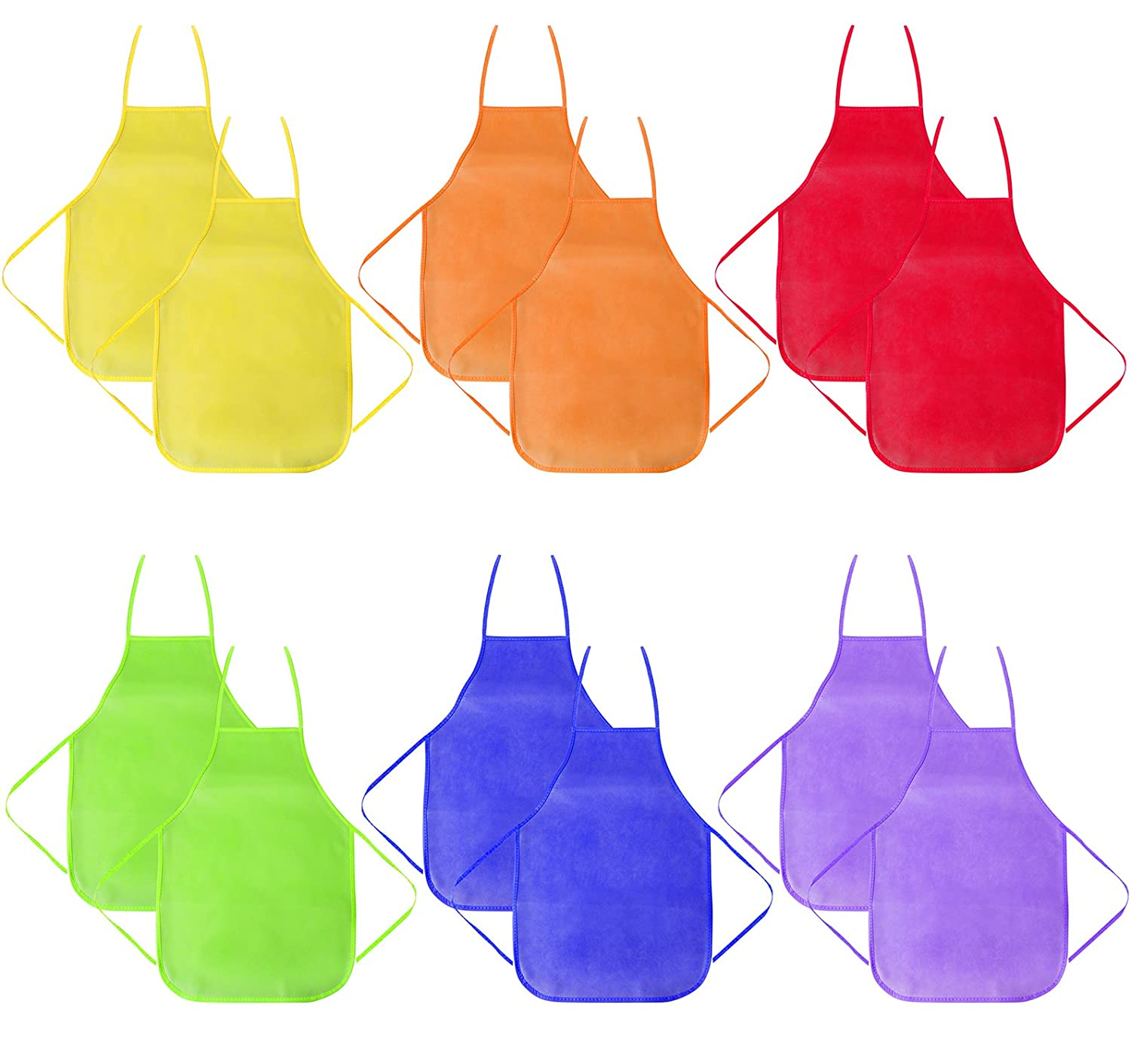 12 Pack 6 Colors Children's Artists Fabric Aprons-Kitchen, Classroom, Community Event, Crafts & Art Painting Activity-Safe Clean for Kids Painting Apron Attmu BBB-122-1