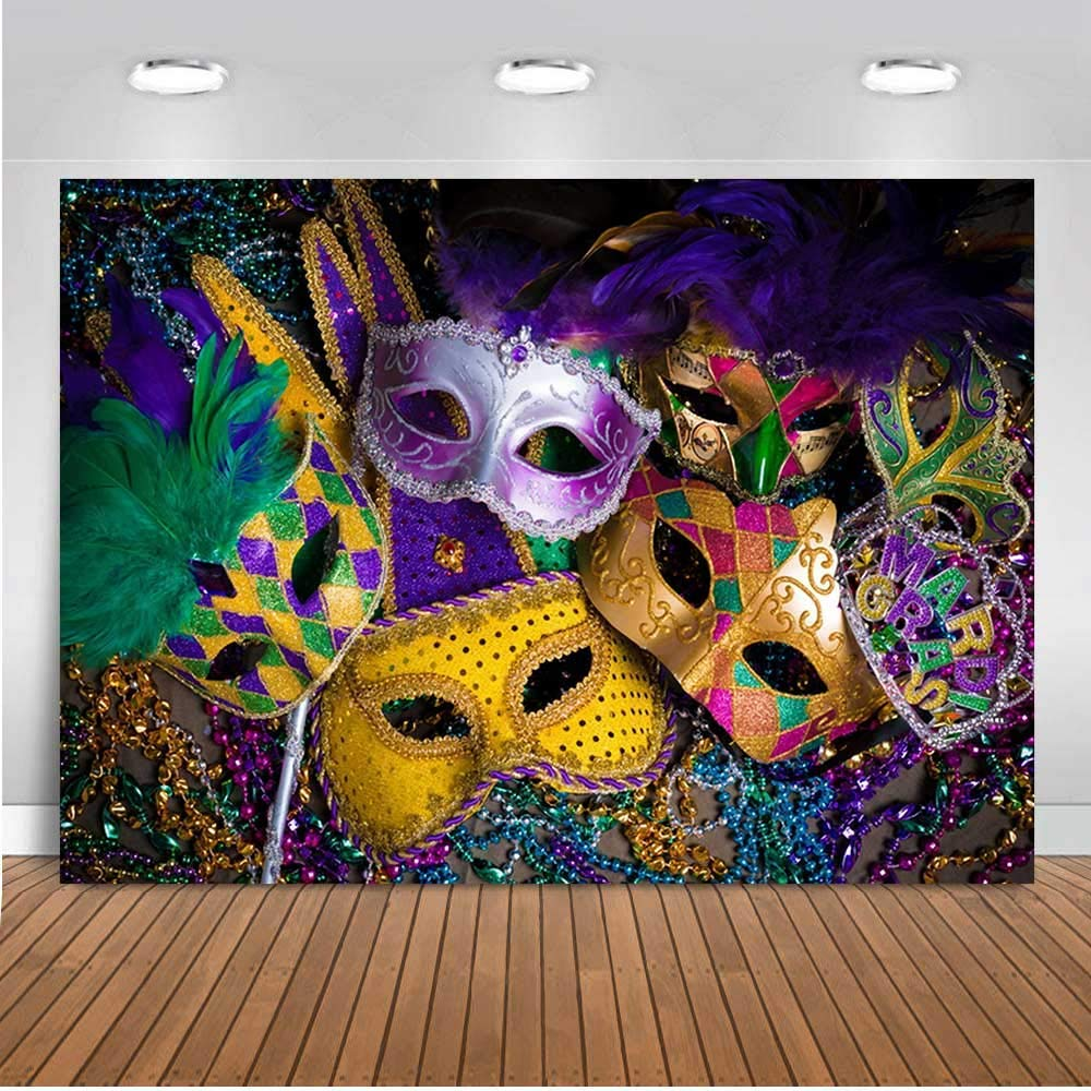 Viola Oro Verde Perline Festa in Maschera Fotografia Sfondo Vinile 7x5ft per Carnevale Fiesta Mardi Gras Danza Foto Sfondo Forniture Bambini Compleanno Foto Cabine Puntelli Decorazioni