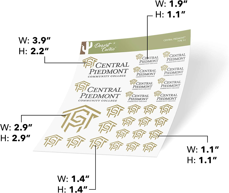 Type 1-1 Sheet Central Piedmont Community College CPCC Tigers NCAA Sticker Vinyl Decal Laptop Water Bottle Car Scrapbook