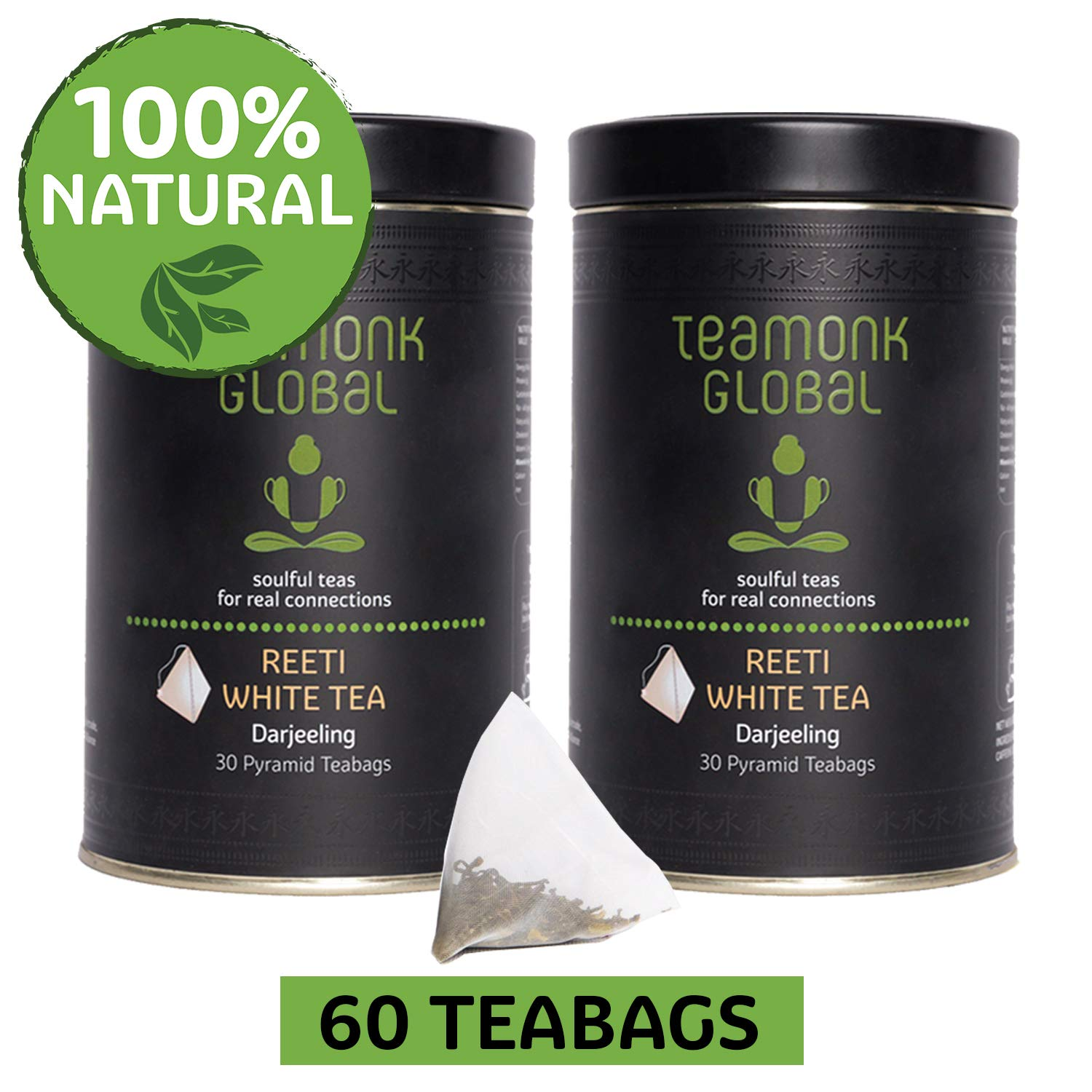 Darjeeling Organic White Tea, 60 Teabags-Pack of 2 (30 Teabags each) | Nourishes Glow from Within, Helps Build Immunity | 100% Natural Whole Leaf | No Additives
