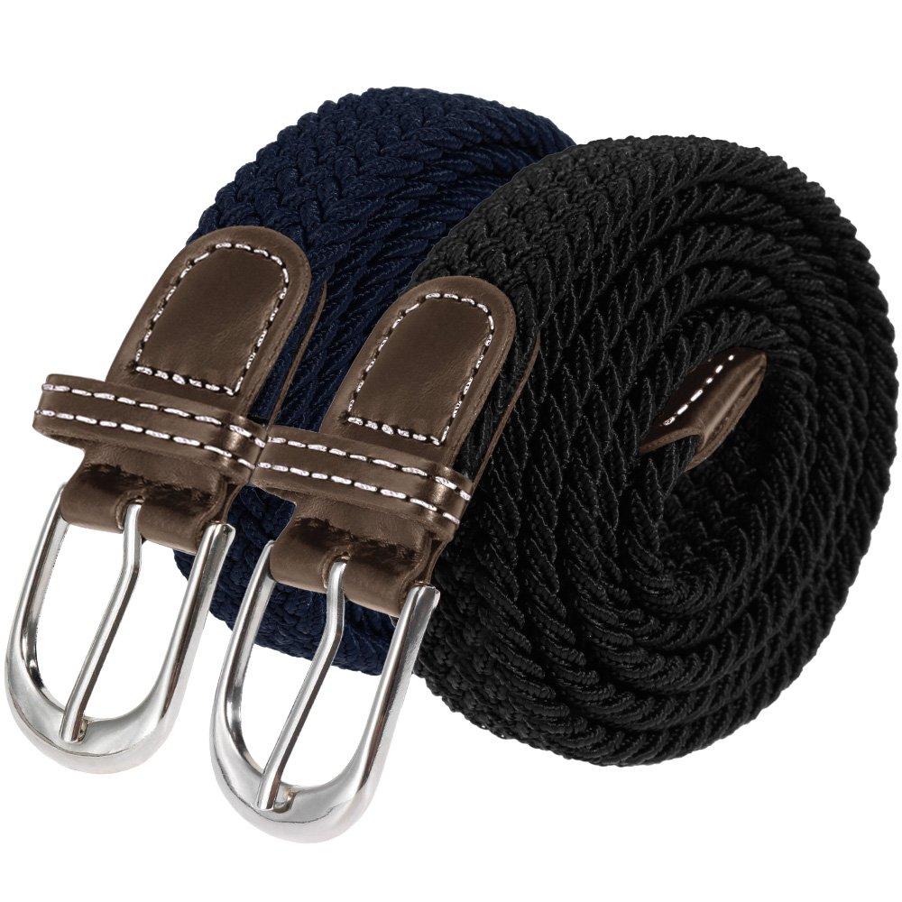 96c86944d953a1 Anpro 2 Stück Dehnbarer Gürtel, Elastischer Stoffgürtel, Geflochtener Stretch  Gürtel mit Leder für Damen ...
