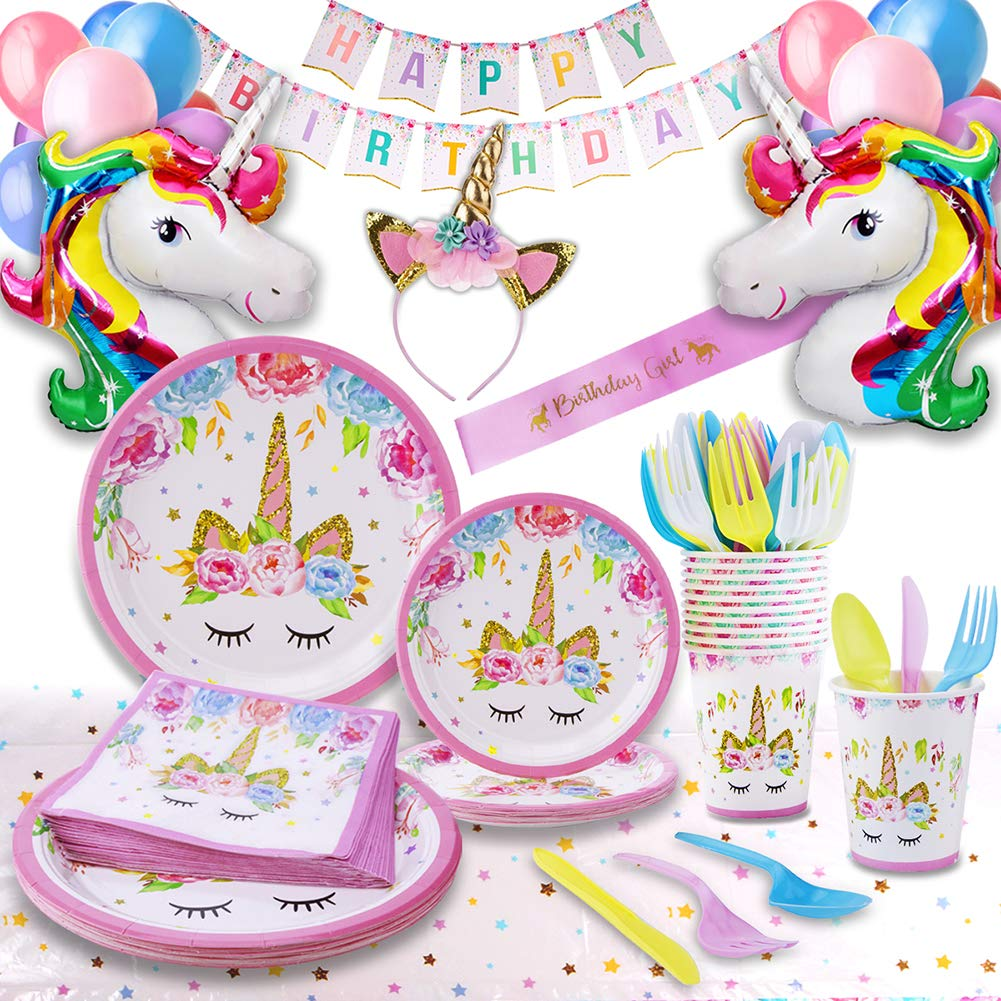 Unicorn Party Supplies - Bonus Unicorn Headband Birthday Sash and Balloons- Serves 16 Guests - Unicorn Birthday Decorations for Girls with Disposable Tableware Cutlery- By GFive Party Pack by GFive