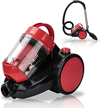 wolketon Aspiradora sin bolsa 3L, aspiradora cilíndrica con equipo de confort, filtro hepa altamente eficiente, 900 vatios, práctico, rojo silencioso [clase energética A]: Amazon.es: Hogar