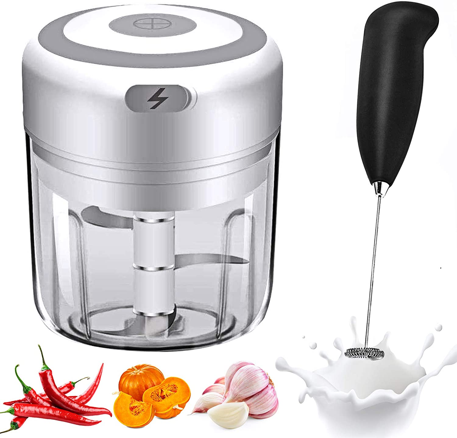 Electric Mini Garlic Chopper, Food Slicer And Chopper, Portable Garlic Blender Mini Chopper Food Processor For Pepper Chili Vegetable Nuts Meat with Frother (250 ml)