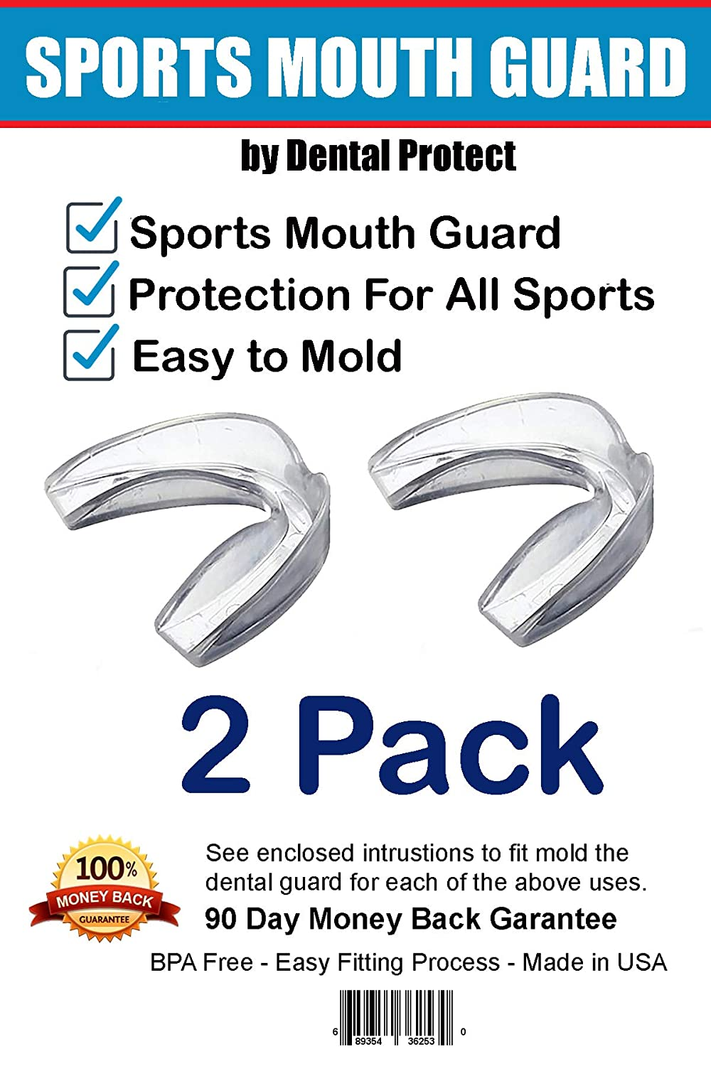 Fits Any Size Mouth Age 12+ Athletic Teeth Mouth Guards Designed for Maximum Protection No BPA Soft Material 2 Pack Made in USA - Customization for Comfort Sports Mouth Guards from