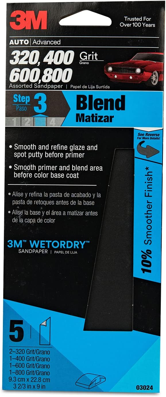 3M Wetordry Sandpaper, 03024, Assorted Grits, 3 2/3 inch x 9 inch, 5 sheets per pack