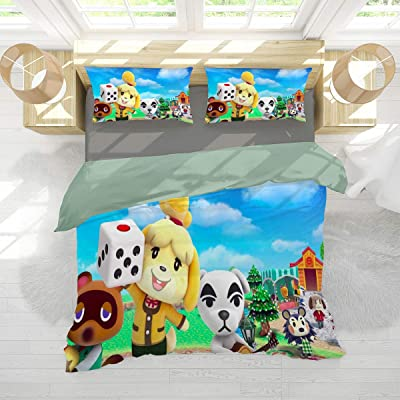 Bedding Set 3 Piece Set Animal Crossing New Horizons Kids Bedding Comforter Cover with and 2 Pillow Shams Ultra Soft and Breathable Comforter Cover Twin (68x88 inches) Partners: Home & Kitchen