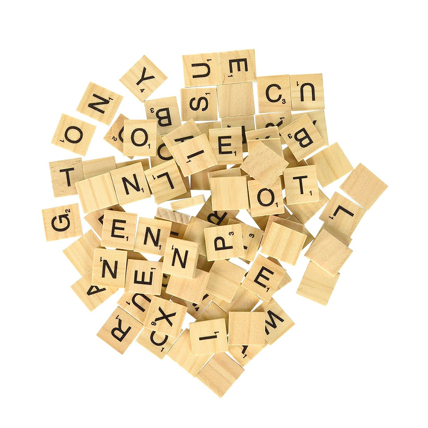 500 Wood Scrabble Tiles - NEW Scrabble Letters - Wood Pieces - 5 Complete Sets - Great for Crafts, Pendants, Spelling by Clever Delights