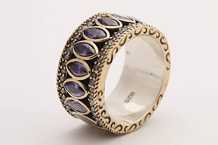Turkish Handmade Jewelry Oval Shape Amethyst and Round Cut Amethyst Topaz 925 Sterling Silver Ring Size Option