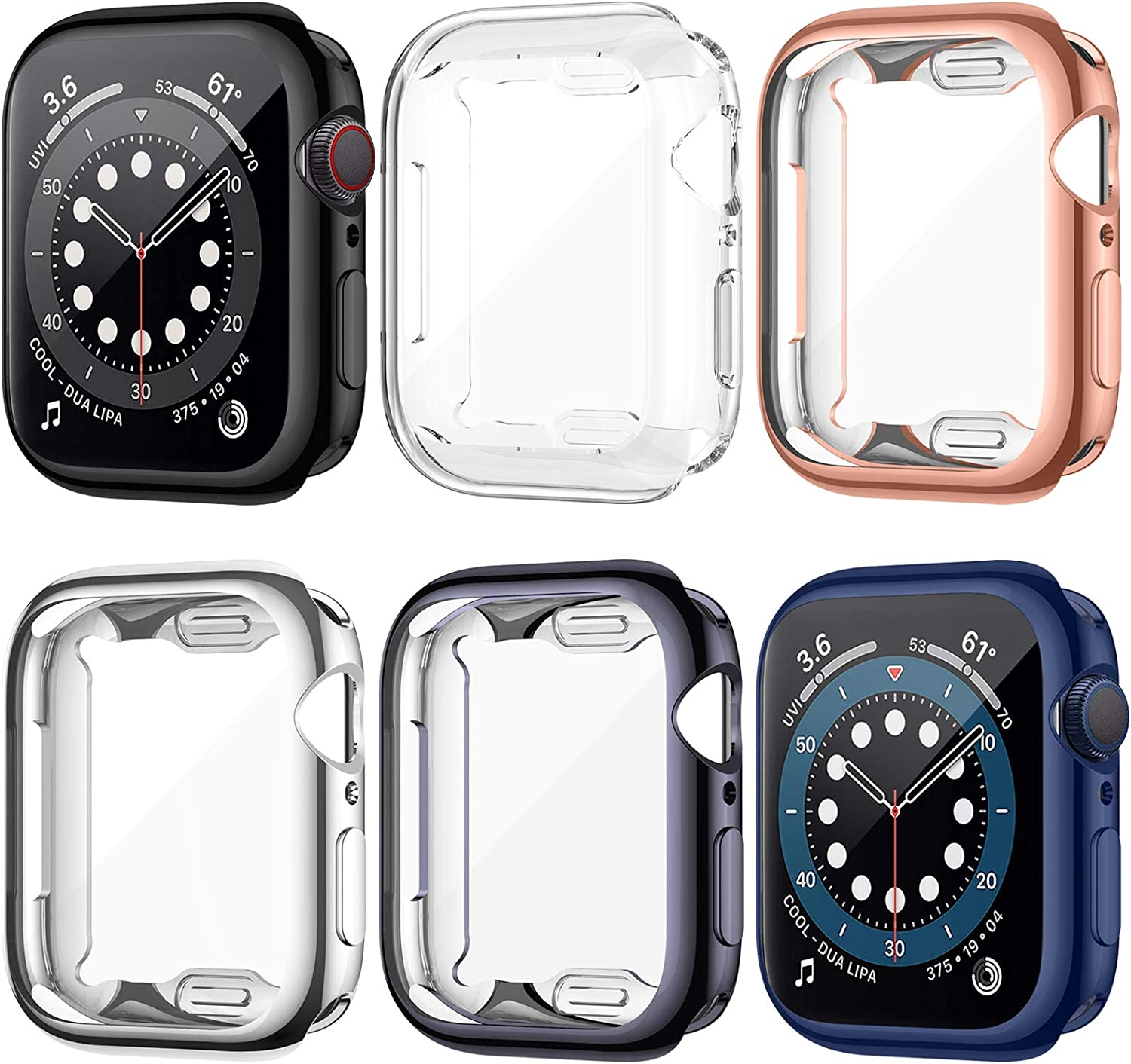 LORDSON 6 Pack Screen Protector Case Compatible with Apple Watch SE Series 6/5/4 44mm, Overall Soft TPU Protective Cover Full Coverage Case Bumper Watch Face Cover Compatible with iWatch SE/6/5/4