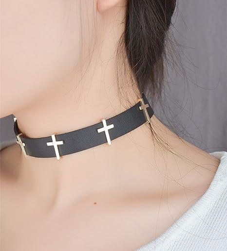 Negro Choker Collar, Gótico Punk Rock corbata Collar con Cruz para ...