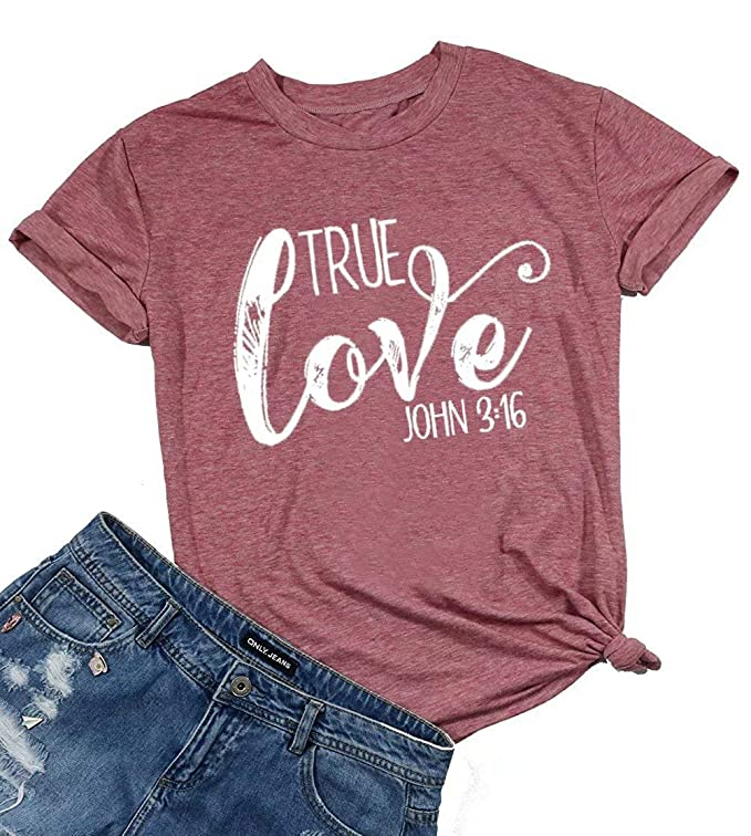 True Love John 3:16 Christian Shirt Women Funny Letter Print Jesus T-Shirt Religion Gift Tees Tops Size S (Pink)