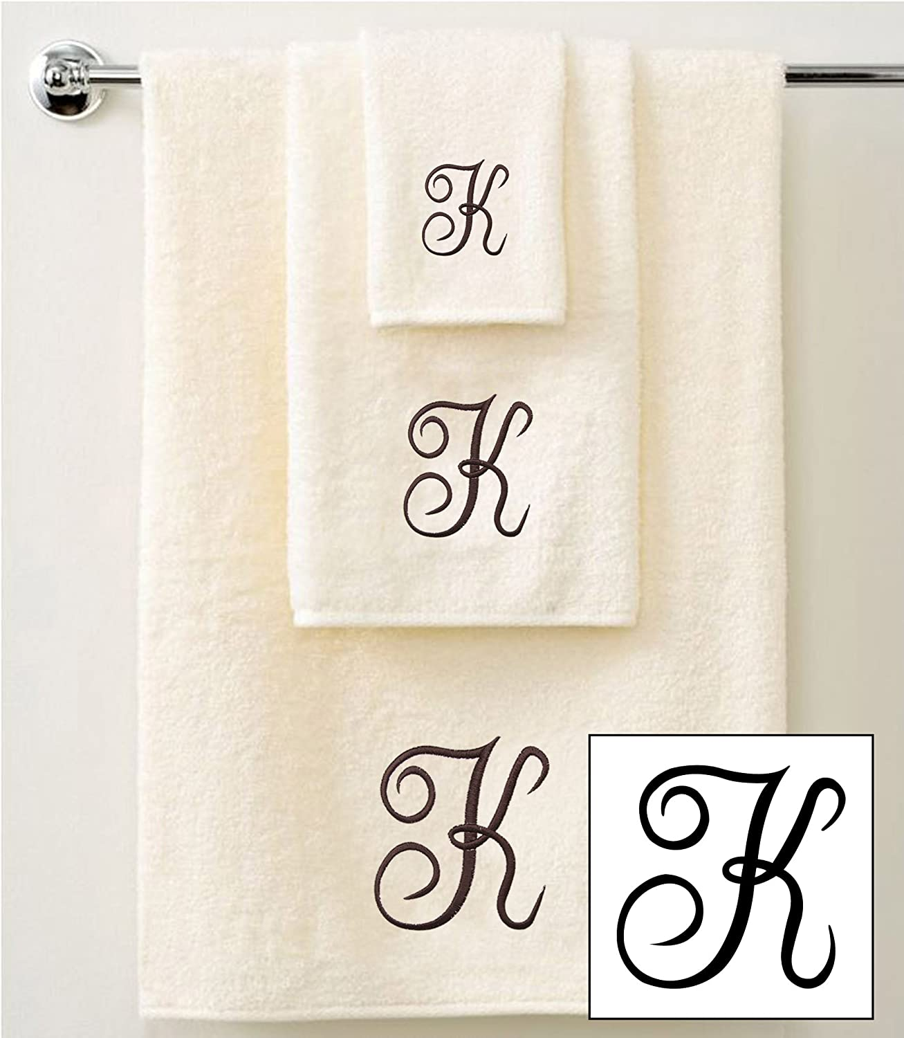 IvoryBrown A 1 Hand Towels and 1 Guest Towels QCS Personalised Embroidered 3 Piece Towel Set in Brown Script 100/% Cotton 600 GSM 1 Bath Towels