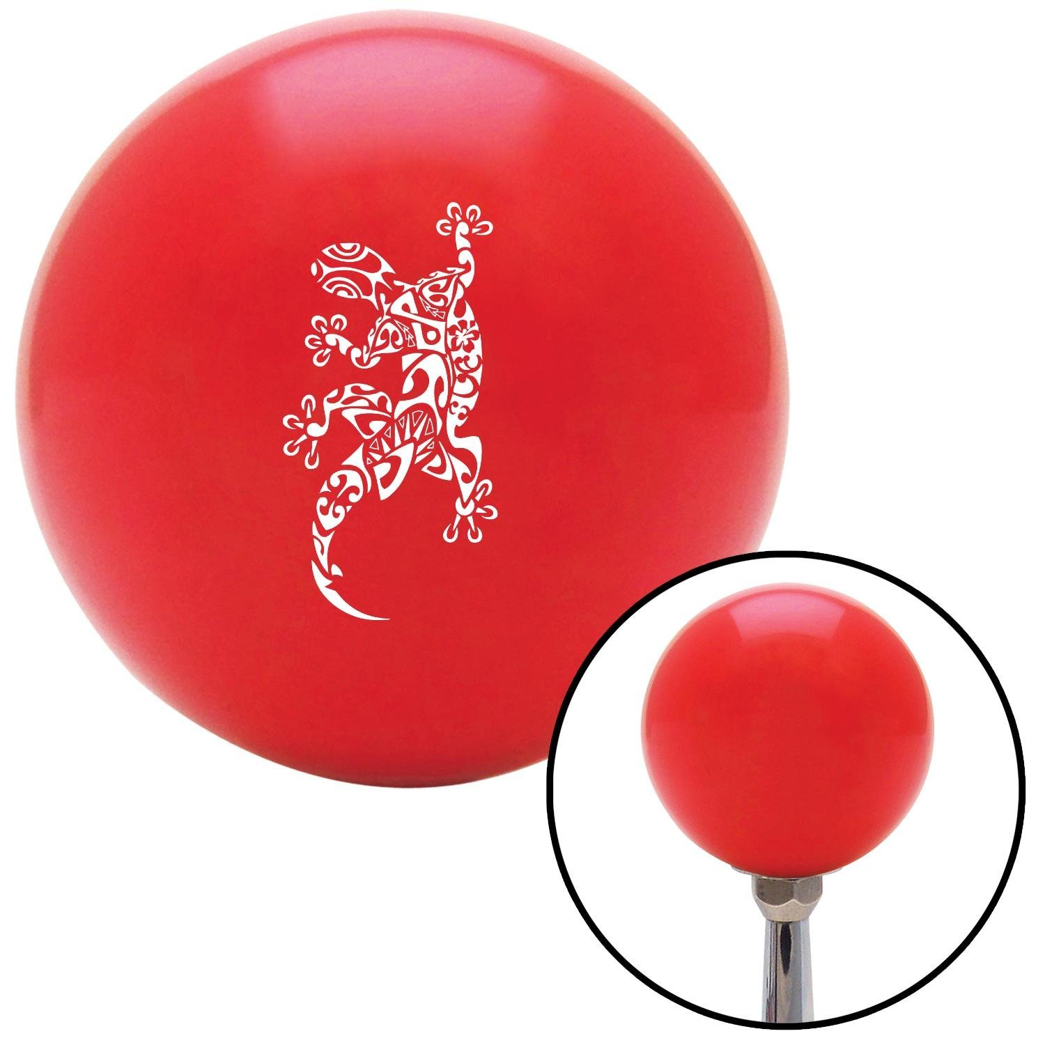 White Abstract Gecko American Shifter 95489 Red Shift Knob with M16 x 1.5 Insert