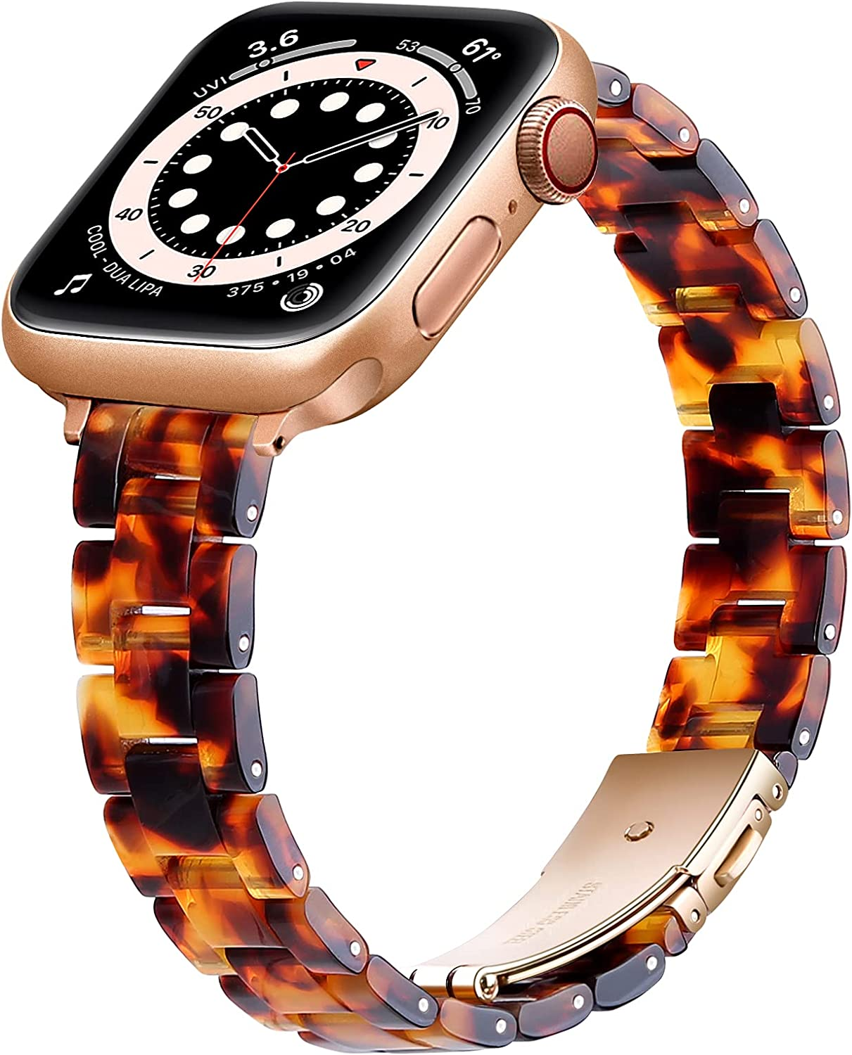 OUHENG Slim Resin Strap Compatible with Apple Watch Bands 40mm 38mm 44mm 42mm, Lightweight Thin Band with Metal Buckle for iWatch SE Series 6/5/4/3/2/1 (Tortoise Stone/Rose Gold, 40mm 38mm)