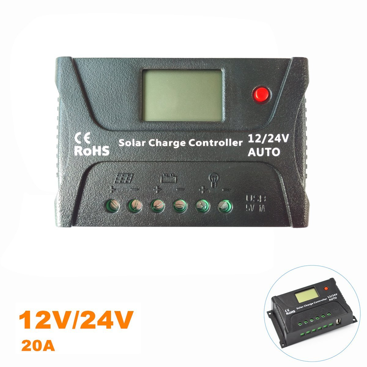 20 Amp PWM Solar Panel Charge Controller 12V 24V Voltage Regulator 20A By Easun Power, Solar Charge Controller Waterproof USB Port LCD Display overload Protection Temperature (20A)