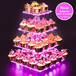 Cupcake Stand – Premium Cupcake Holder – Acrylic Cupcake Tower Display – Cady Bar Party Décor – 4 Tier Acrylic Display for Pastry + LED Light String – Ideal for Weddings, Birthday (Pink Light)