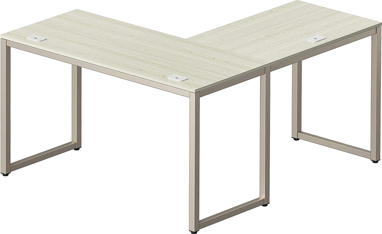 "SHW Home Office 55""x60"" Large L Shaped Corner Desk, Silver/Gray"