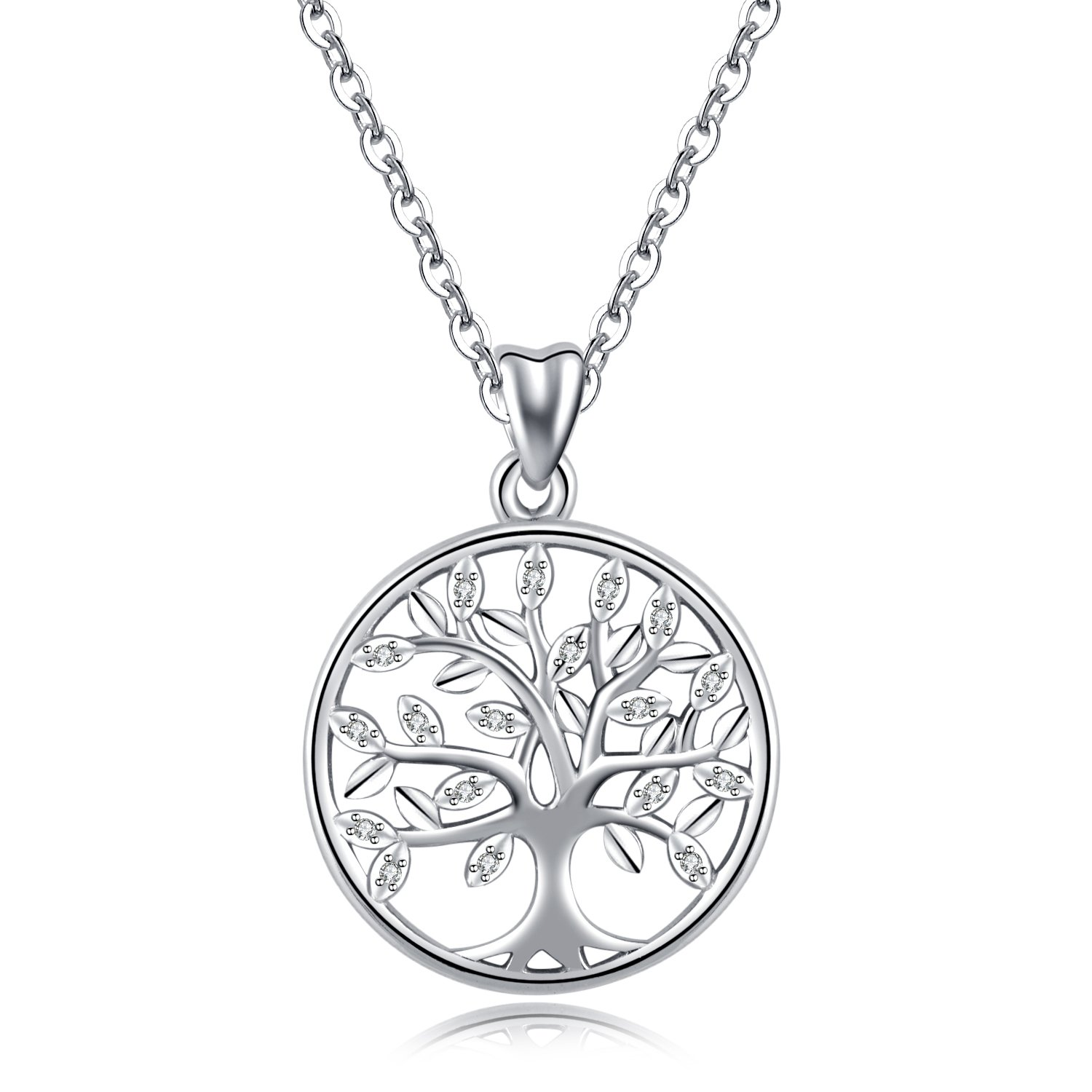 AEONSLOVE 925 Sterling Silver Family Tree of Life Cubic Zirconia Pendant Necklace for Women, 18'' Gifts
