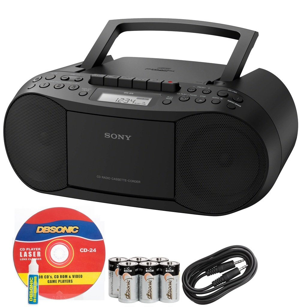 Sony Compact Portable Stereo Sound System Boombox with MP3 CD Player, Digital Tuner AM/FM Radio, Tape Cassette Recorder, Headphone Output & 3.5mm Audio Auxiliary input Jack to connect any iPod, iPhone or Digital Audio Device - Features: Mega Bass Reflex S